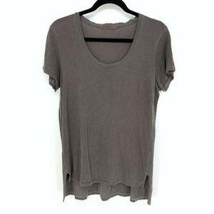 Stateside Brown Short Sleeve Hi-Low Solid T-Shirt
